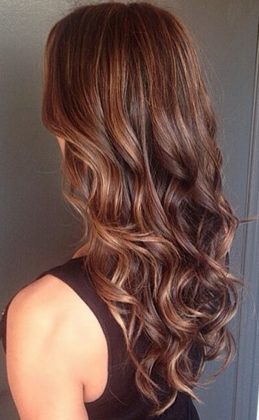 healthy brunette hair color with highlights